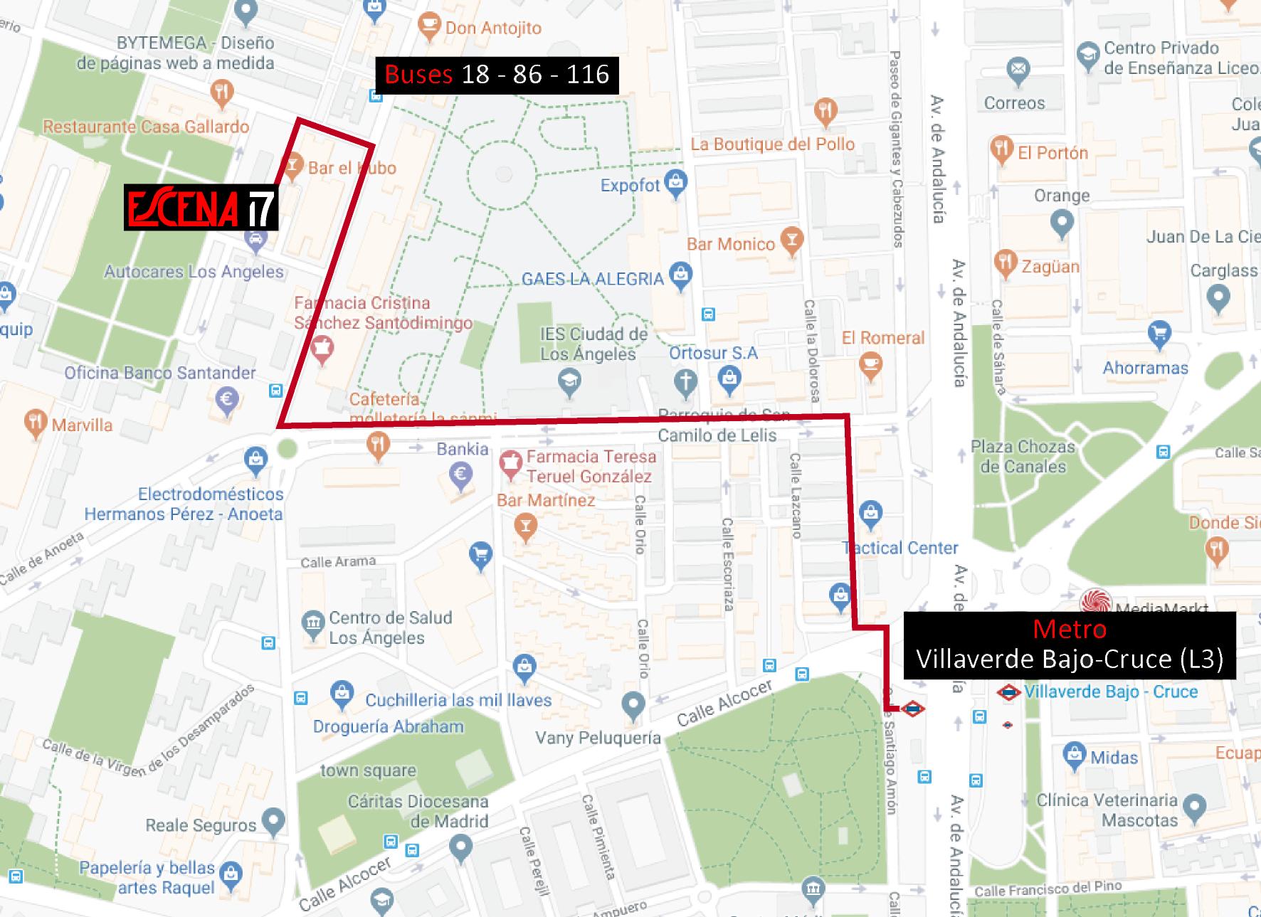Mapa de cómo llegar a Escena17